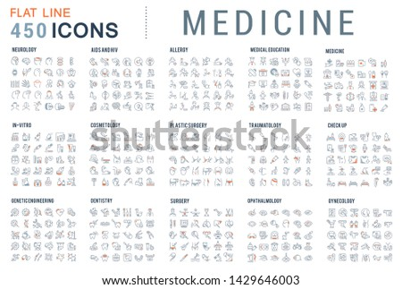 Collection of line icons of medicine. Surgery, dentistry, invitro, aids, cancer, check up, orthodontics, biology, vet, clinic, education. Set of flat signs and symbols for web and apps. #1429646003