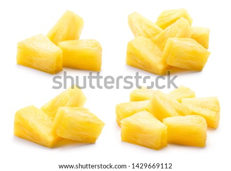 Canned pineapple chunks. Pineapple slices isolated. Set of pineapple chunks. Collection. #1429669112