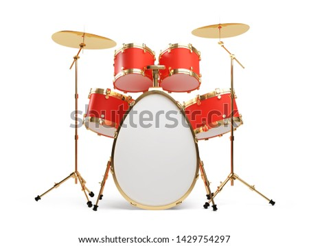 Egg in the form of a drum set isolated on a white background. Clipping path included. 3d illustration