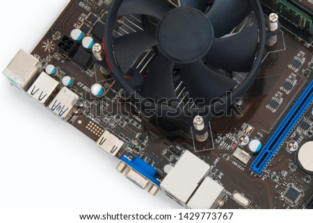 Part  motherboard   on  white background. view from above #1429773767