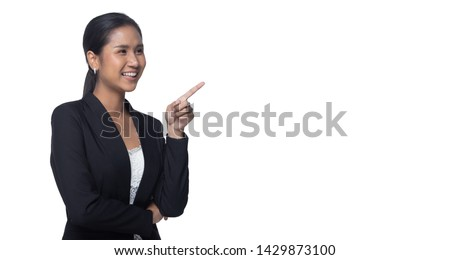 Portrait half body Snap Figure, Asian Business Woman Stand in black Formal proper Suit pants, studio lighting white background isolated, Lawyer Boss act posing smile smart look fashion sign #1429873100