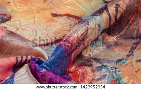 texture, background, pattern, wallpaper, postcard, poster, silk fabric with a painted artist's palette, bright colors, colors, unrestrained imagination - this is what you need for your  projects #1429952954