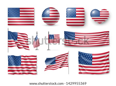 Various American flags set isolated on white background. Realistic waving american flag on pole, table flag and different shapes labels. Patriotic USA 3d rendering symbols vector illustration. #1429955369