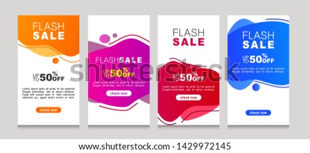 Set of flash sale banners with dynamic modern liquid mobile concept. special offer and sale banner discount up to 50% template design with editable text. #1429972145