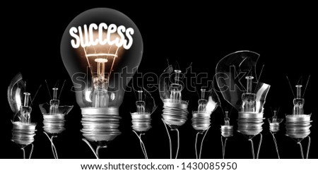 Group of broken light bulbs and shining one of them with fiber in a shape of Success word isolated on black background #1430085950