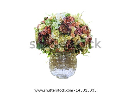 Decorative artificial roses isolated on white background with clipping path #143015335