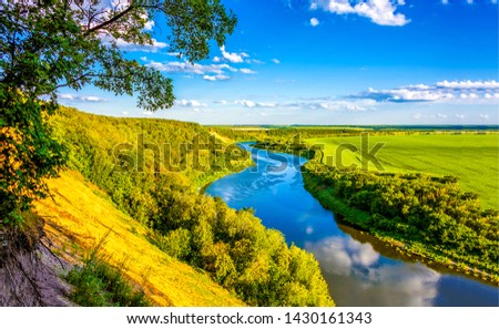 Summer mountain valley river landscape. Summer river valley panorama. River valley in sunny day. Mountain valley river view #1430161343