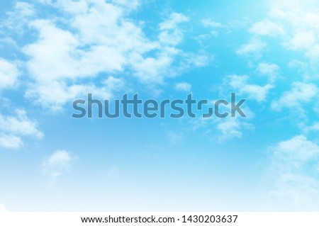 Blue sky with white cloud. Blue background. The summer sky is colorful clearing day and beautiful nature in the morning. for backdrop decorative and wallpaper design. The perfect sky background. #1430203637