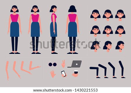 Front, side, back view animated character. Business woman character creation set with various views, hairstyles, face emotions, poses and gestures. Cartoon style, flat vector illustration  #1430221553