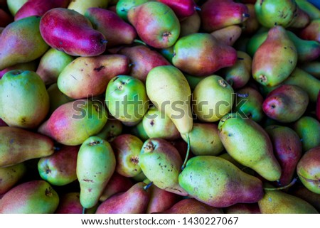fresh pears  as background, top view #1430227067
