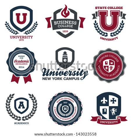 Set of university and college school crests and logo emblems Royalty-Free Stock Photo #143023558