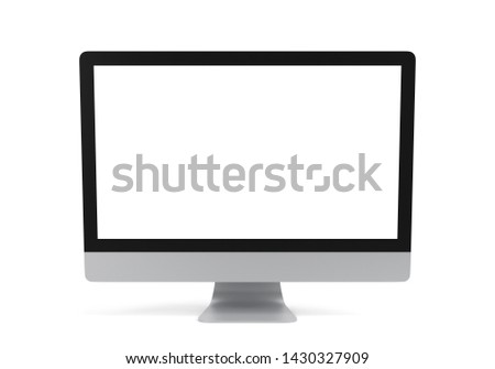 Computer with blank screen isolated on white background, 3d illustration, clipping path.