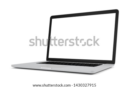 Laptop with blank screen isolated on white background, 3d illustration, clipping path.