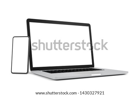 Laptop and smart phone with blank screen isolated on white background, 3d illustration, clipping path.