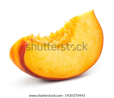 Peach slice on white background. Sliced peach isolated. #1430370443
