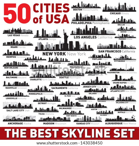 Super city skyline set. 50 vector city silhouettes of USA Royalty-Free Stock Photo #143038450