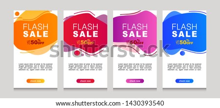 Vector Illustration Set of Dynamic modern geometric and fluid mobile for flash sale banners. Special offer and sale discount up to 50% template design with editable text. #1430393540