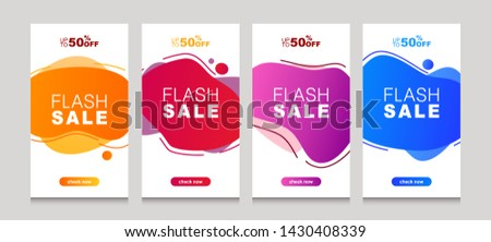 Set of flash sale banners with dynamic modern liquid mobile concept. special offer and sale banner discount up to 50% template design with editable text. #1430408339