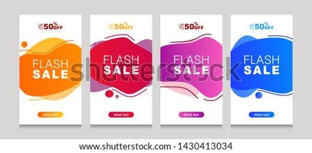 Set of flash sale banners with dynamic modern liquid mobile concept. special offer and sale banner discount up to 50% template design with editable text. #1430413034