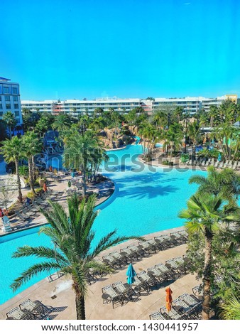 Orlando, FL / USA - January 17, 2019, The view of a magnificent pool at Loew's Sapphire Resort in Universal Studios Florida.  #1430441957