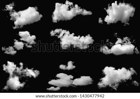 Set of clouds white fluffy on isolated elements black background. #1430477942
