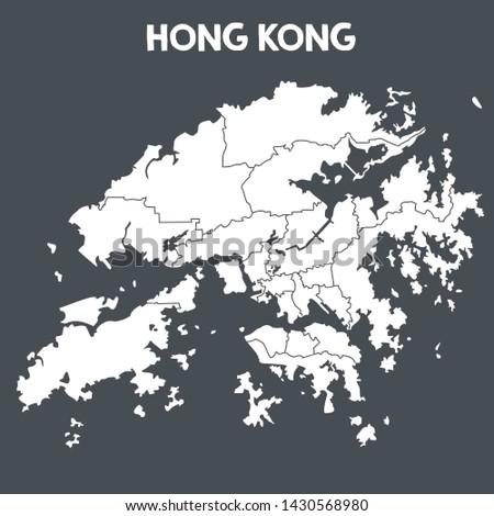 Vector icon map of Hong Kong. Image Chinese flag map Hong Kong. Illustration of Hong Kong map in flat minimalism style.