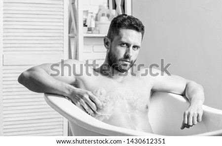 Cleaning parts body. Hygiene concept. Man muscular torso sit in bathtub. Skin care. Hygienic procedure concept. Total relaxation. Bathing can improve heart health. Personal hygiene. Take care hygiene. #1430612351