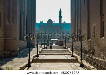 View of a walkway between two mosques, Islamic Cairo, Egypt. #1430761922