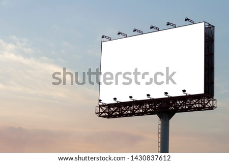 White isolate background in billboard and cloud sky.