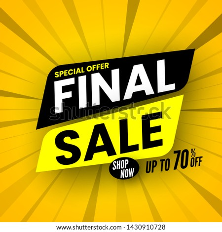 Final sale banner on striped background, special offer up to 70% off. Vector illustration. #1430910728