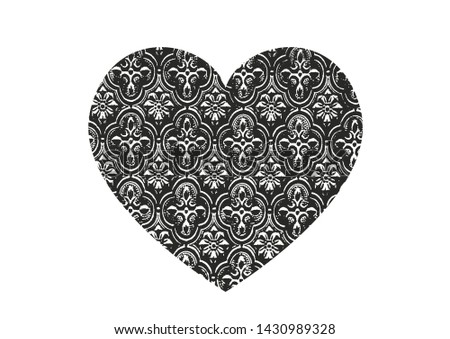 Isolated distress grunge heart with floral eastren ornament, flower and leaves texture. Element for greeting card, Valentine s Day, wedding. Creative concept. Vector illustration #1430989328