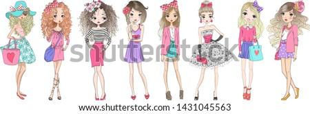 Eight hand drawn beautiful cute cartoon summer fasshion girls. Vector illustration. Royalty-Free Stock Photo #1431045563