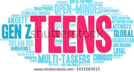 Teens word cloud on a white background.  #1431083015