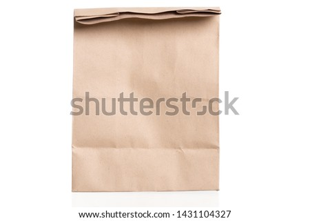 simple brown paper bag for lunch or food isolated on white background with copy space #1431104327