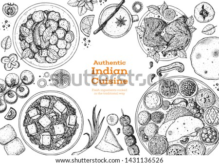 Indian food illustration. Hand drawn sketch. Indian cuisine. Doodle collection. Vector illustration. Menu background. Engraved style.  Royalty-Free Stock Photo #1431136526