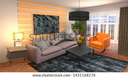 Zero Gravity Sofa hovering in living room. 3D Illustration #1431168176