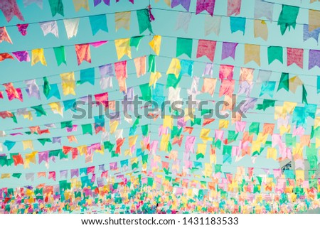 Typical colorful flags used for decoration at the June Festivals (aka festas de Sao Joao), popular festivities in Northeastern Brazil (Oeiras, Brazil) #1431183533