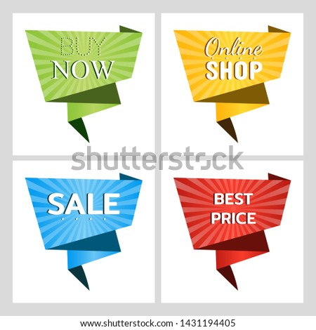 Set of web banners for sales and promotions. Buy now. Online shop. Sale. Best price. Paper origami speech bubble isolated on white for design of advertisement label, sticker. Vector #1431194405