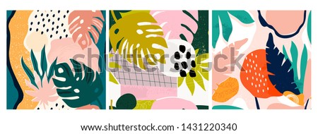 Set of three hand drawn seamless patterns. Tropical jungle leaves and various shapes. Abstract contemporary seamless patterns. Modern patchwork illustrations in vector. Every pattern is isolated #1431220340