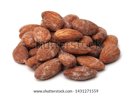 Salted almonds on white background #1431271559
