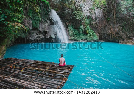 The azure Kawasan waterfall in cebu. The maining attraction on the island. Concept about nature and wanderlust traveling #1431282413