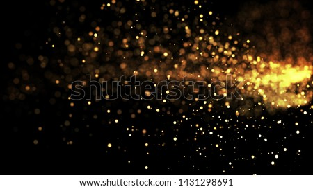 golden particles hang in the midair, isolated on a black background. Shallow depth of field, bokeh effects. 3d rendering ver 5 #1431298691