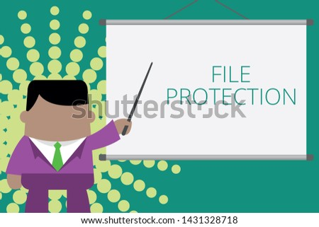 Writing note showing File Protection. Business photo showcasing Preventing accidental erasing of data using storage medium Businessman standing in front projector screen pointing project idea.