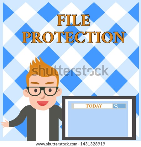 Conceptual hand writing showing File Protection. Business photo text Preventing accidental erasing of data using storage medium Male Speaker Screen with Search Tool on Screen Presentation.