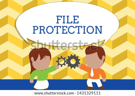 Word writing text File Protection. Business concept for Preventing accidental erasing of data using storage medium Standing young couple sharing gear. Man tie woman skirt commerce relation.