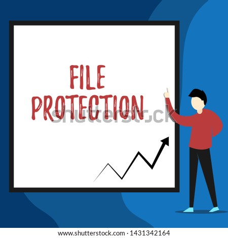 Word writing text File Protection. Business concept for Preventing accidental erasing of data using storage medium View young man standing pointing up blank rectangle Geometric background.