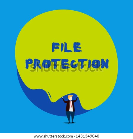 Conceptual hand writing showing File Protection. Business photo showcasing Preventing accidental erasing of data using storage medium Male human wear formal tuxedo hold asymmetrical shape bubble.
