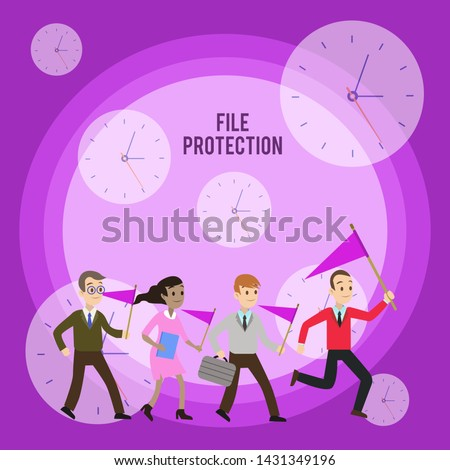 Conceptual hand writing showing File Protection. Business photo showcasing Preventing accidental erasing of data using storage medium Crowd Flags Headed by Leader Running Demonstration Meeting.