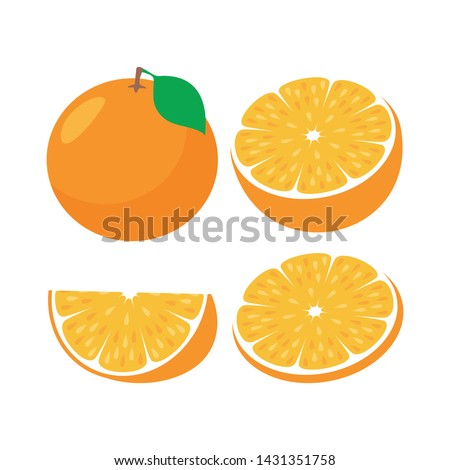 Orange fruit slice. Whole and half orange vector illustration #1431351758