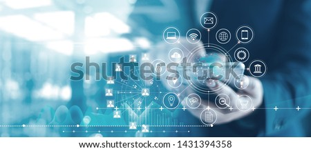 Mobile banking network, online payment, digital marketing. Business people using mobile phone with credit card and icon network connection on dark blue virtual screen background, business technology  Royalty-Free Stock Photo #1431394358